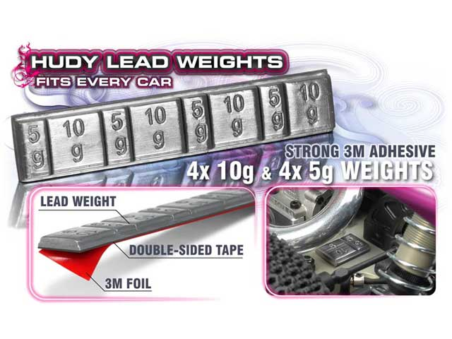 HUDY 293080 Lead Weights 4x5g & 4x10g With 3M Glue